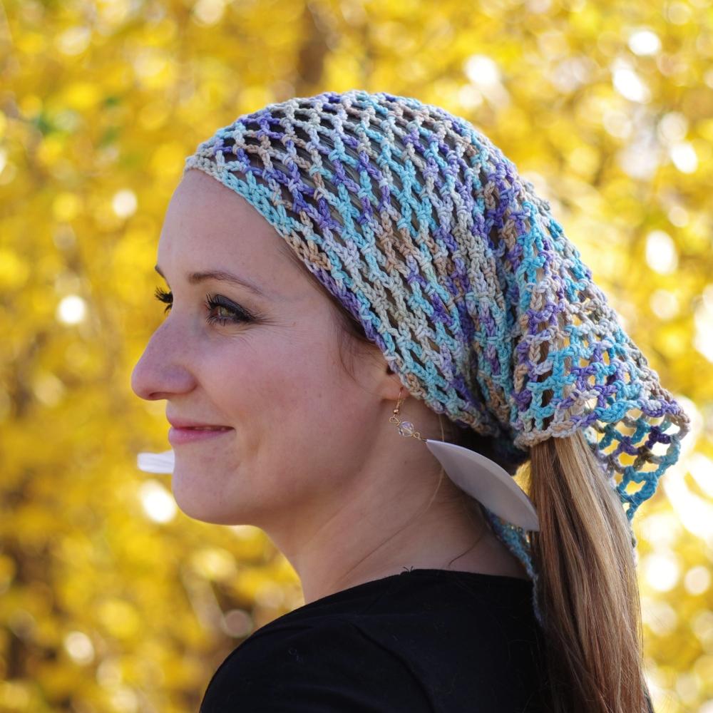 Síťovaný šátek tyrkys melír
