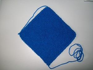 Čtverec pletený po diagonále